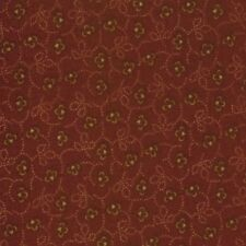 by the 1/2 YD~MODA~KANSAS TROUBLES FAVORITES~9034-12~TAN FLOWERS ON RED