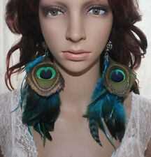 54A2-26 Fashion Natural Peacock Blue Feather Earrings Jewelry 1 Pair Lhf140528