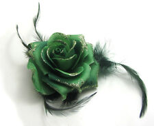 1X Flower Feather Prom Wrist Corsage Hair Clip Fascinator Pin Brooch Hole Green