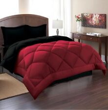 Queen Reversible Comforter Set 3 Piece Bed in a Bag Bedding Bedspread Red Black