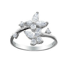 925 Sterling Silver Dazzling Butterfly CZ Adjustable Toe Ring