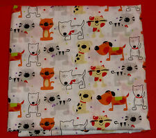 2 fat quarters in polycotton with fun cats and dogs in bright colours on white