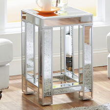 Mirrored Glass Accent Table Living Room Bedroom Decor Nightstand Mirror Glam NEW