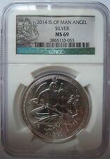 2014 Isle of Man Angel MS69 livellata BU con COA 1oz.999 argento LINGOTTO MEDAGLIA