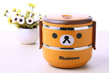Double-Tier Bento lunch box stainless steel thermal insulation San-X Rilakkuma