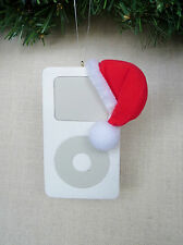 MP3 Player with Santa Hat Christmas Ornament  White Resin  New