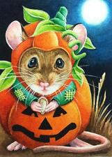 ACEO Limited Edition Print Halloween Costume Mouse Moon Pumpkin & Seed J. Weiner