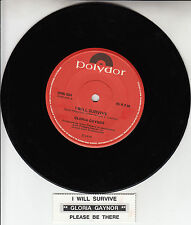 "GLORIA GAYNOR  I Will Survive 7"" 45 rpm vinyl record + juke box title strip"
