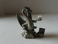 PEWTER DRAGON WITH A CRYSTAL BALL AND TREASURE CHEST