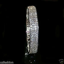 4 ROW DIAMANTE RHINESTONES  SILVER BANGLE BRACELET