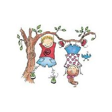 PENNY BLACK RUBBER STAMPS HANGIN' OUT STICK KIDS IN TREE NEW STAMP