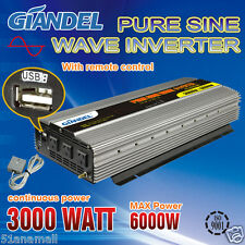 Large Shel Pure Sine Wave Power Inverter3000W(6000W Max)12V-240V Remote Control