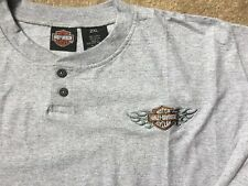 Harley Davidson Bar and Shield Gray long sleeve Henley Shirt Nwot Men's XXL