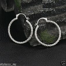 New Cool ! Twinkle 925 Sterling silver plated Curved Twisted Hoop Earrings 33mm