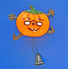 Buy3/Get1FREE~HALLOWEEN PIN-PUMPKIN Man ANTHROPOMORPHIC Pull String Vtg Brooch