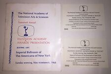 20th Annual Emmy Awards 1968 Seating List & 2 Tickets - From Kate Smith ESTATE