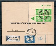 Israel Scott #15 Flag Right Tab Plus #2 Plate Block on Commercial Cover!!