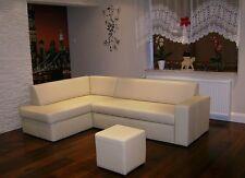 Echt Leder Ecksofa + Hocker Echtleder Sofa Couch Bettfunktion  Rindsleder