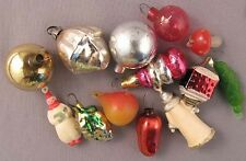 Christmas Tree Ornament Set Miniature Mini Tiny Russian Glass Vintage Old XMAS