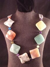 """24"""" Multi Colored Natural Stone & Freshwater Pearl Beaded Necklace"""
