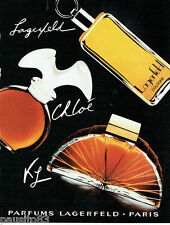 PUBLICITE ADVERTISING 115  1984  les parfums eau de Cologne Chloe Karl Lagerfeld