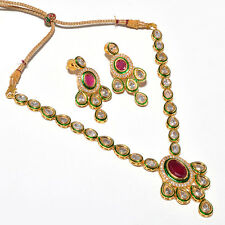 KUNDAN NECKLACE SET RUBY MEENA JADE VINTAGE POLKI TANISHQ STYLISH DESIGNER 5289