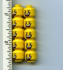 LEGO x 10 Yellow Minifig, Head Male Huge Grin, White Pupils, Eyebrows Jester