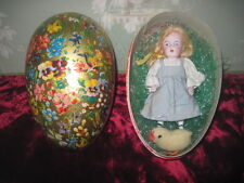 "SPECIAL SALE! 4 1/2"" ANTIQUE ALL BISQUE KESTNER DOLL IN ANTIQUE LITHO EASTER EGG"