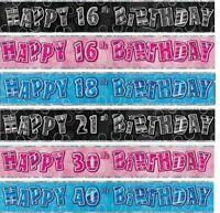 GLITZ FOIL BANNER - 12Ft Foil Wall Happy Birthday 1st-100th Party Decorations