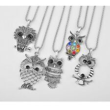 5X Lot Fashion Jewelry Mixed Retro Silver VINTAGE Owl Pendant Necklaces New