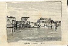 Stampa antica LIVORNO Fortezza Vecchia Toscana 1891 Old antique print
