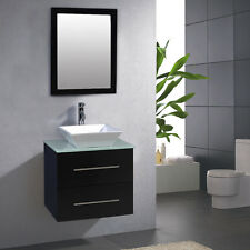 "24"" Bathroom Ceramic Porcelain Sink Wall Mount Cabinet Vanity w/Mirror Fa"