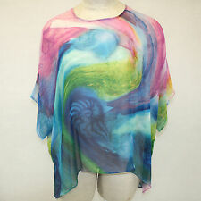 NEW NWT Cocoon House Odyssey Art Sheer 100% Silk Pointed Blouse Top Small / Med