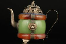Vintage Collection Old Exquisite Jade Tibet Silver Lion Statues Teapot
