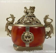 Chinese Old Tibet Silver armored lion dragon incense burner NO197