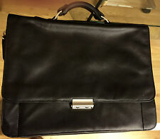 "ALDA Leather Flap-Over Briefcase Laptop Case Combination Lock 17""x14"" L.A,Calif."