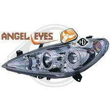 Coppia Fari fanali anteriori tuning Peugeot 307 con 2 anelli Angel Eyes cromati