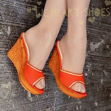 Ladies Womens Slip on Wedges Sandals Mules Colourful High Heel Pumps size 20338