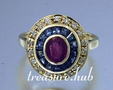 C102 Genuine 9ct Yellow Gold Ruby Sapphire & Diamond Engagement Ring in yr size