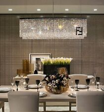 Contemporary Luxury Rectangular Linear Island Dining Room Crystal Chandelier