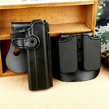 Tactical Retention Roto Holster & Double Magazine Pouch Set Fit PT1911 Pistols