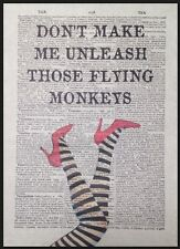 Wizard Of Oz Flying Monkeys Quote Vintage Dictionary Page Print Picture Wall Art