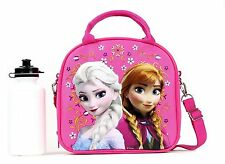 Disney Frozen Lunch Box Carry Bag with Shoulder Strap and Water Bottle - Pink