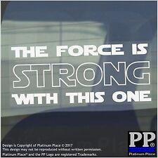 La fuerza es fuerte 1 x con este uno-Blanco-Coche, Furgoneta, signo, etiqueta engomada, Star Wars, Yoda