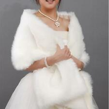 2015 New Ivory Faux Fur Bridal Wedding Jacket Wrap Shrug Bolero Shawl Cape