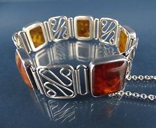 modernist Design Armband Bernstein & Silber Baltic Amber Silver Bracelet vintage