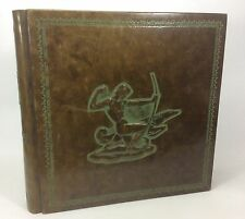 Extra Large Guilded Embossed Leather PHOTO ALBUM Scrapbook-Italian