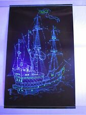 Vintage Psychedelic Blacklight Poster PEACE SHIP Hippy Pirate Boat Graphics West