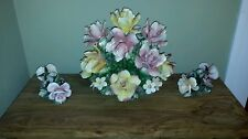 Antique Capodimonte Centerpiece  Flower Basket Bouquet HUGE +Pair Candle Holders