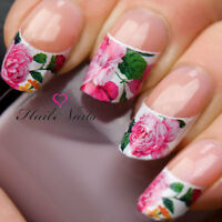 French Nail Tips WRAPS Art Water Transfers Decals Pink Peony Rose Nail Tips Y64